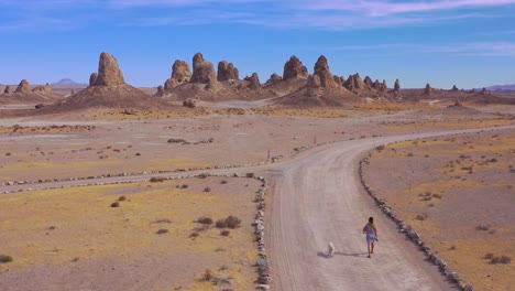 A-woman-and-dog-walk-down-a-dirt-road-at-the-Trona-Pinnacles-rock-formations-in-the-Mojave-Desert-near-Death-Valley-1