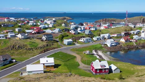 Aerial-over-the-small-village-or-town-of-stykkisholmur-Iceland