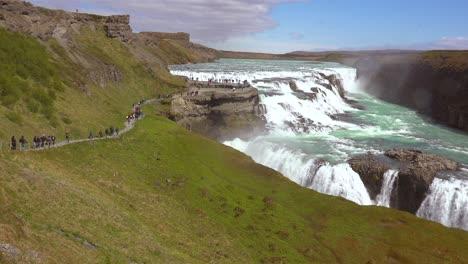 Pan-across-the-massive-Gulfoss-waterfall-in-Iceland