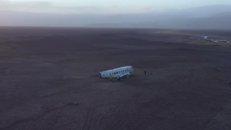 Aerial-over-a-crashed-US-Navy-DC-3-on-the-black-sands-of-Solheimasandur-Iceland-5