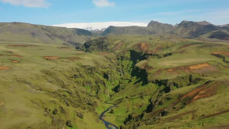 Beautiful-aerial-over-typical-Iceland-landscape-near-Vik-includes-canyon-volcanic-and-glacier-landscapes