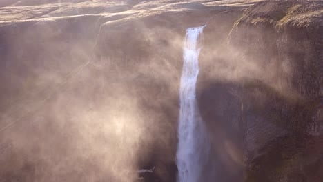 Gorgeous-and-spectacular-Haifoss-waterfall-in-Iceland-in-spray-and-mist-