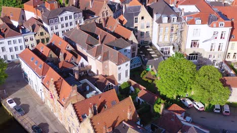 Nice-aerial-tilt-to-reveal-the-skyline-of-Bruges-Belgium-includes-Belfort-Van-Brugge-and-other-downtown-landmarks
