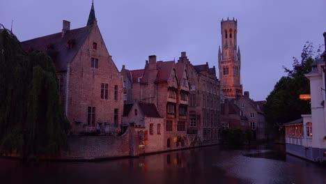 Beautiful-canal-and-the-Belfort-Van-Brugge-Bruges-belfry-bell-tower-in-Belgium-night