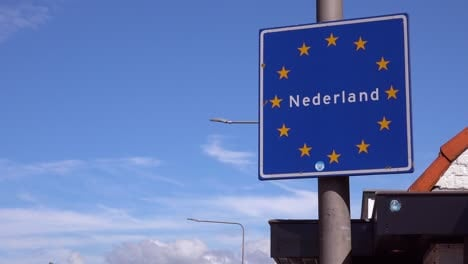 A-road-sign-welcomes-visitors-to-the-Netherlands-Holland-European-Union
