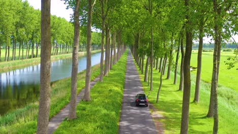 Aerial-through-treetops-of-a-car-driving-along-a-canal-in-Belgium-Holland-Netherlands-or-Europe-1