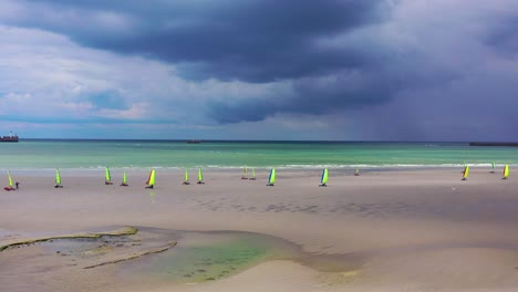 Aerial-land-carts-sail-carts-blokarts-sand-yachts-are-sailed-on-the-beach-in-France
