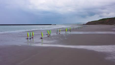 Aerial-land-carts-sail-carts-blokarts-sand-yachts-are-sailed-on-the-beach-in-France-1