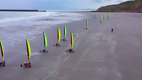 Aerial-land-carts-sail-carts-blokarts-sand-yachts-are-sailed-on-the-beach-in-France-2