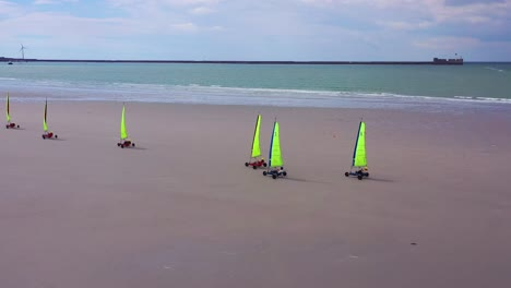 Aerial-land-carts-sail-carts-blokarts-sand-yachts-are-sailed-on-the-beach-in-France-4