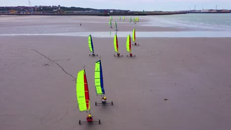 Aerial-land-carts-sail-carts-blokarts-sand-yachts-are-sailed-on-the-beach-in-France-5