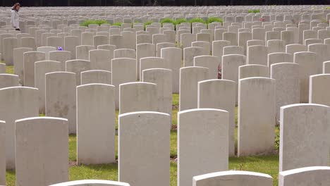 A-woman-in-a-white-coat-looks-at-headstones-of-the-Etaples-France-World-War-cemetery-military-graveyard