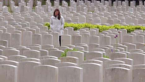 Eine-Frau-In-Einem-Weißen-Kittel-Betrachtet-Die-Grabsteine-Des-Soldatenfriedhofs-Der-Etaples-Frankreich-Weltkriegsfriedhof-1