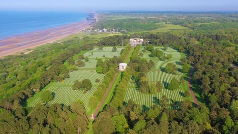 Aerial-over-vast-American-World-War-Two-cemetery-memorial-at-Omaha-Beach-Normandy-France-3