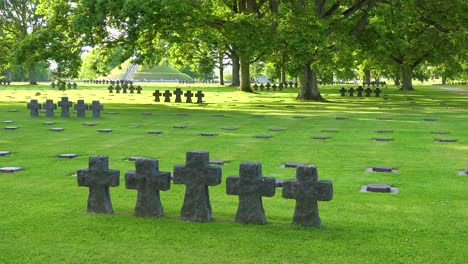 Graves-and-crosses-at-La-Cambe-Nazi-German-World-War-Two-cemetery-memorial-near-Omaha-Beach-Normandy-France