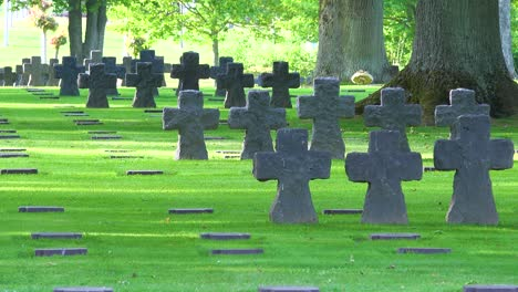 Graves-and-crosses-at-La-Cambe-Nazi-German-World-War-Two-cemetery-memorial-near-Omaha-Beach-Normandy-France-1
