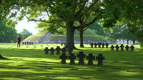 Graves-and-crosses-at-La-Cambe-Nazi-German-World-War-Two-cemetery-memorial-near-Omaha-Beach-Normandy-France-2