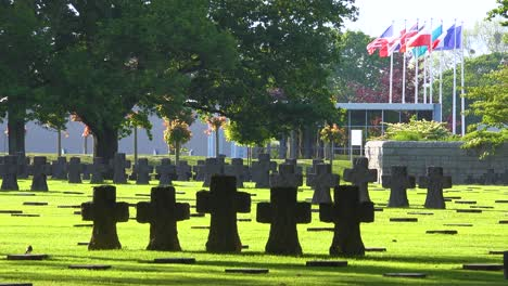 Graves-and-crosses-at-La-Cambe-Nazi-German-World-War-Two-cemetery-memorial-near-Omaha-Beach-Normandy-France-3