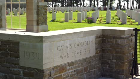 Graves-and-crosses-at-Calais-Canadian-World-War-Two-cemetery-memorial-near-Omaha-Beach-Normandy-France-1