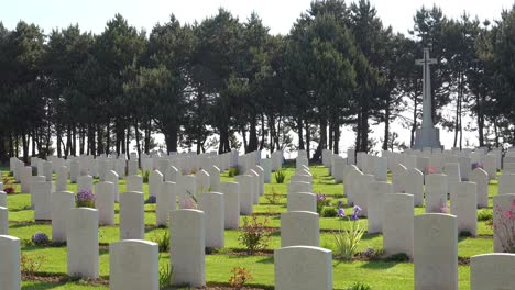 Graves-and-crosses-at-Calais-Canadian-World-War-Two-cemetery-memorial-near-Omaha-Beach-Normandy-France-3