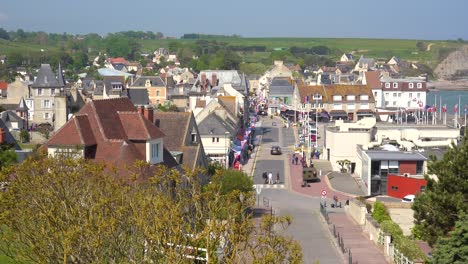 Establishing-of-the-French-d-day-coastal-town-of-Arromanches-Normandy-1