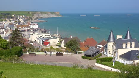 Establishing-of-the-French-d-day-coastal-town-of-Arromanches-Normandy-2