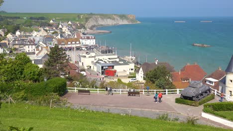 Establishing-of-the-French-d-day-coastal-town-of-Arromanches-Normandy-3