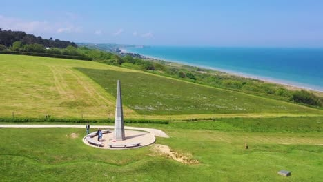Good-aerial-over-the-1st-Infantry-Division-Monument-memorial-at-Omaha-Beach-Normandie-France