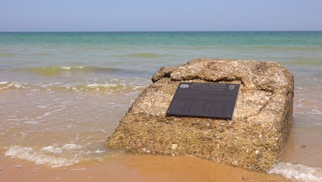 Establishing-of-Omaha-Beach-combat-medics-memorial-Normandy-France-site-of-World-War-two-D-Day-allied-invasion