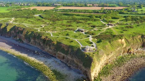 Aerial-over-Pointe-Du-Hoc-Normady-France-D-Day-site-pockmarked-with-bomb-craters-2