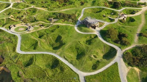 Aerial-over-Pointe-Du-Hoc-Normady-France-D-Day-site-pockmarked-with-bomb-craters-3