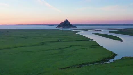 Aerial-of-Mont-Saint-Michel-France-at-dusk-a-classic-French-landmark
