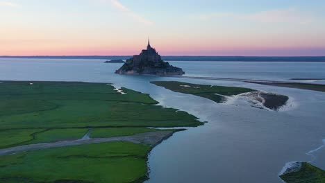 Aerial-of-Mont-Saint-Michel-France-at-dusk-a-classic-French-landmark-1