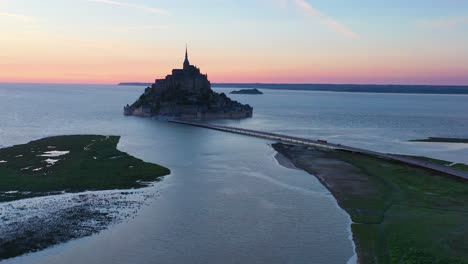 Aerial-of-Mont-Saint-Michel-France-at-dusk-a-classic-French-landmark-2