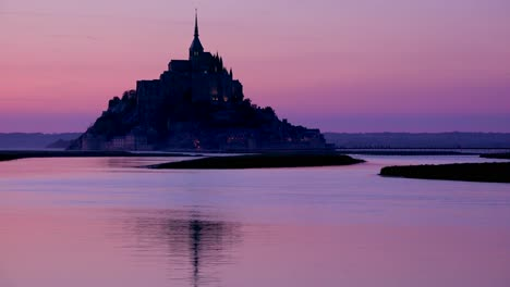 Mont-Saint-Michel-monastery-in-France-at-dusk