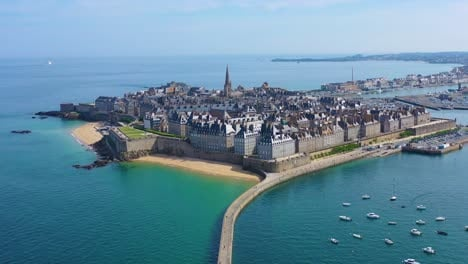Beautiful-aerial-of-Saint-Malo-France-with-harbor-breakwater-and-pier-3