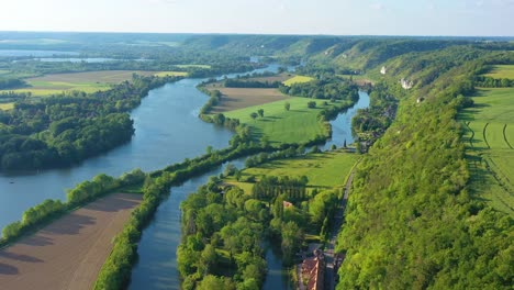 Very-good-aerial-high-over-the-Seine-River-Valley-near-Les-Andelys-France