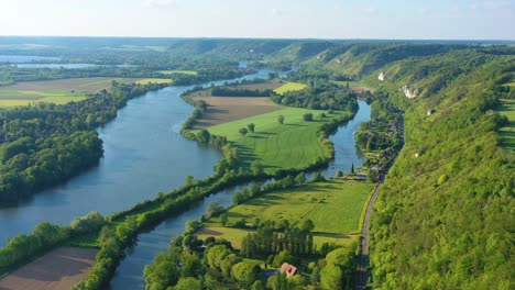 Very-good-aerial-high-over-the-Seine-River-Valley-near-Les-Andelys-France-1
