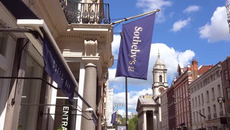 Exterior-establishing-shot-of-Sotheby-s-auction-house-in-London-England