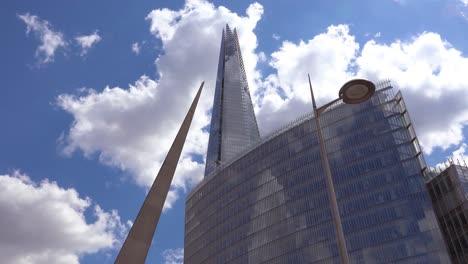 Low-angle-establishing-shot-of-the-Shard-high-rise-skyscraper-in-London-England
