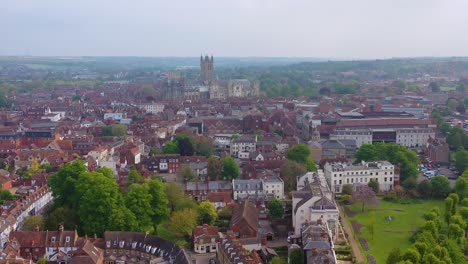 Nice-aerial-over-the-city-of-Canterbury-and-cathedral-Kent-United-Kingdom-England