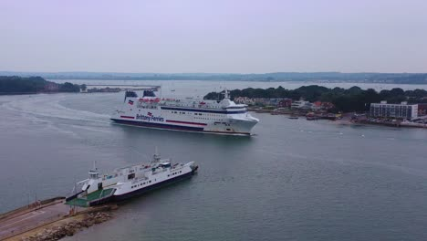 Aerial-over-a-Brittany-Ferry-boat-sailing-across-the-English-Channel-from-England-to-France