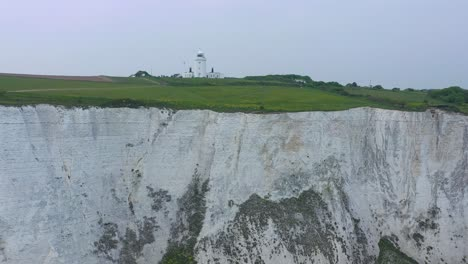 Aerial-of-the-South-Foreland-Lighthouse-and-the-Cliffs-Of-Dover-overlooking-the-English-Channel