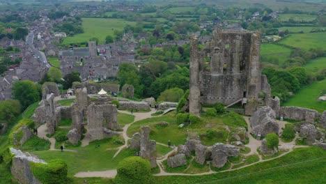 Antena-De-Las-Ruinas-Del-Castillo-De-Corfe-Dorset-Inglaterra