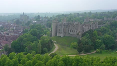 Nice-aerial-of-the-Arundel-Castle-or-Gothic-medievel-palace-in-West-Sussex-England