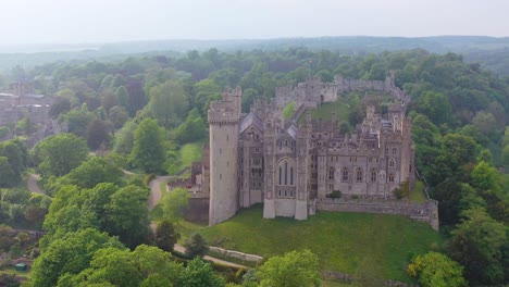 Nice-aerial-of-the-Arundel-Castle-or-Gothic-medievel-palace-in-West-Sussex-England-1