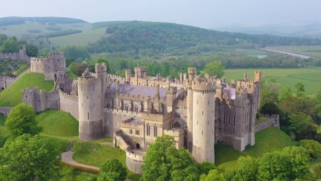 Nice-aerial-of-the-Arundel-Castle-or-Gothic-medievel-palace-in-West-Sussex-England-2