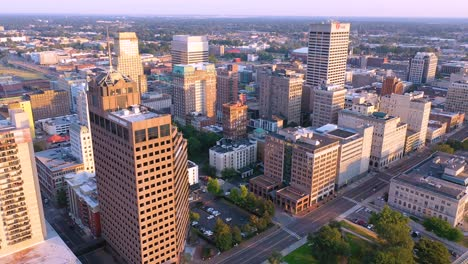 Good-aerial-establishing-shot-of-downtown-city-center-and-business-district-of-Memphis-Tennessee