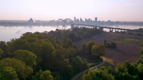 Good-early-morning-aerial-skyline-and-business-district-Memphis-Tennessee-across-the-Mississippi-River-with-Hernando-de-Soto-Bridge-foreground