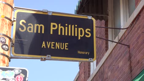 A-sign-in-Memphis-Tennessee-announces-Sam-Phillips-Avenue-near-Sun-Studio-recording-studio
